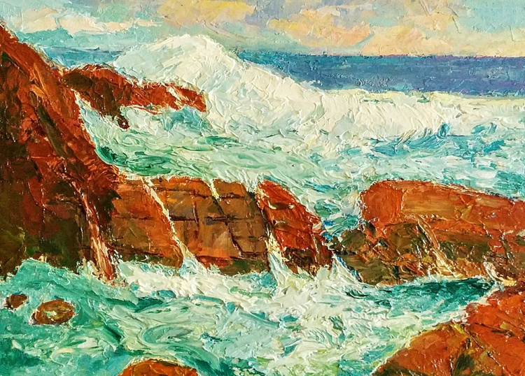 Framed Small Paintings, Pushing through, seascape - Image 0