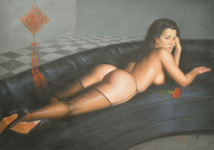 ORIGINAL CLASSICAL REALISM OIL PAINTING ART FEMALE NUDE GIRL BODY SOFA ON CANVAS #11-2-02 - Image 0