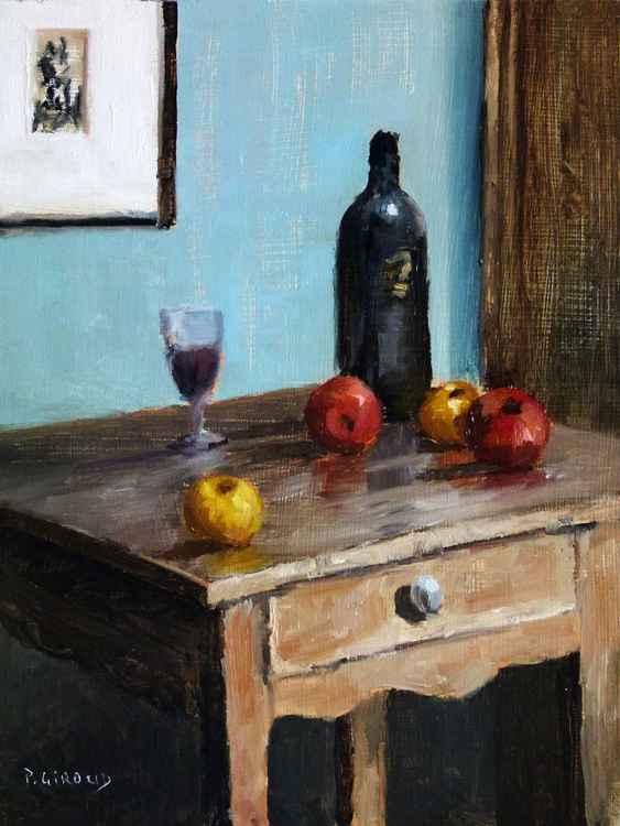Wine Bottle & Apples -