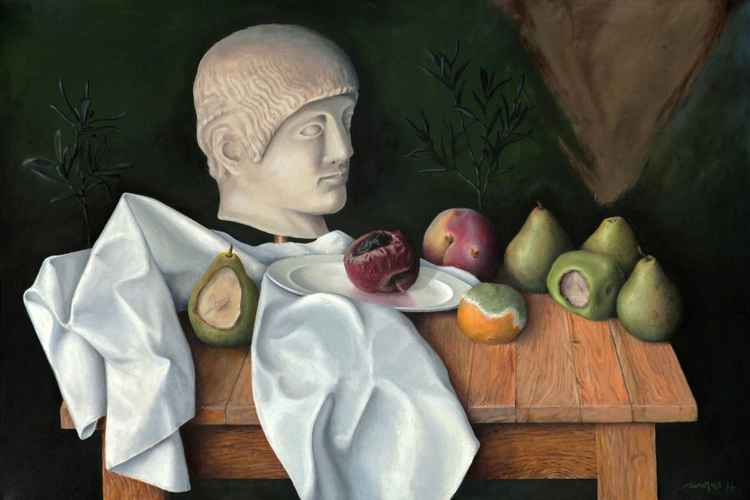 Greek head with rotten fruits