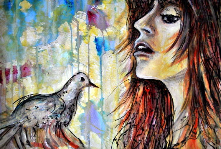 Girl with a Dove - Image 0