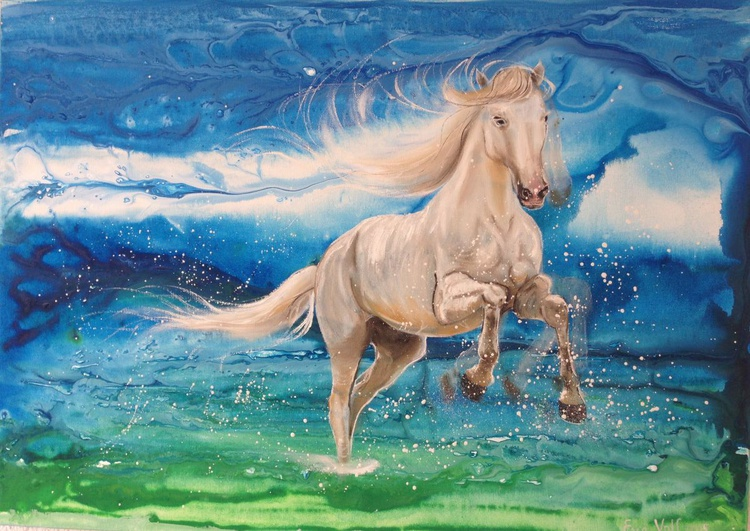 """Horse Painting """"Pure Freedom""""  28x20"""" - Image 0"""