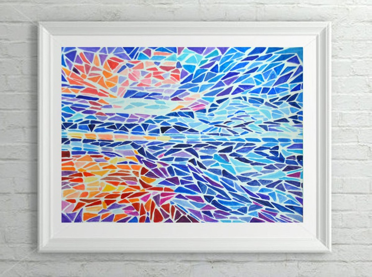 "Abstract Geometric Landscape Painting - ""Ice and Fire"" Acrylic on Canvas Paper - Image 0"