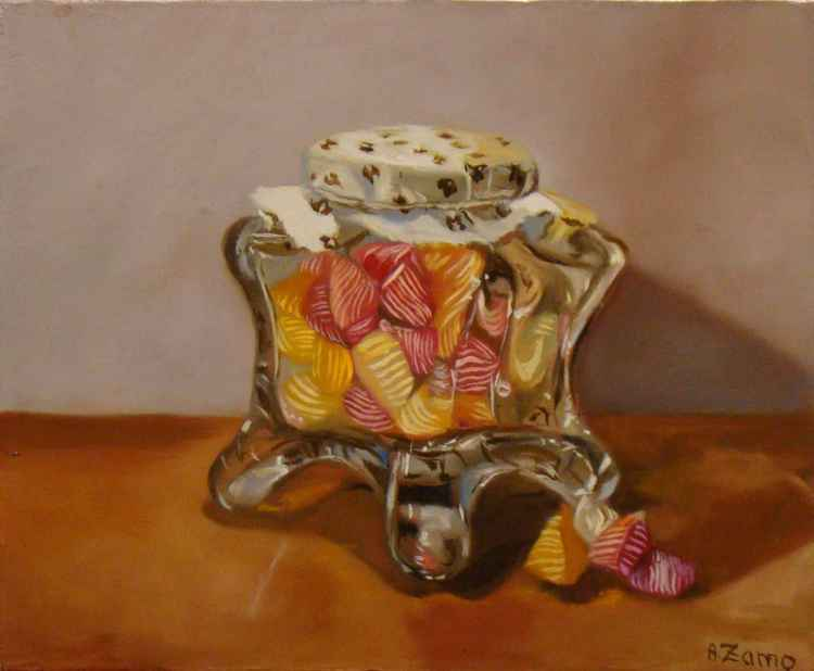 Hard candy - Still Life - Original oil painting by Anne Zamo -