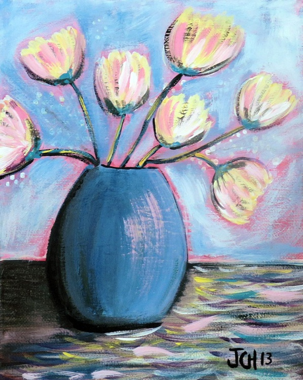 Tulips in a Blue Vase - Image 0