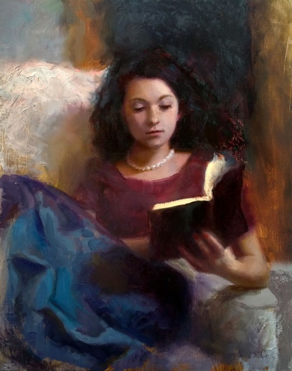 Jaidyn Reading a Book 1 - Portrait of Young Woman - Image 0