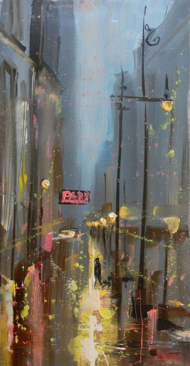 One in the evening city, oil painting 20x40 cm - Image 0