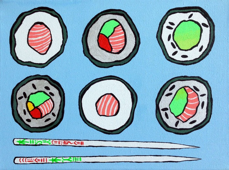 Sushi And Chopsticks Pop Art Canvas Painting - Image 0