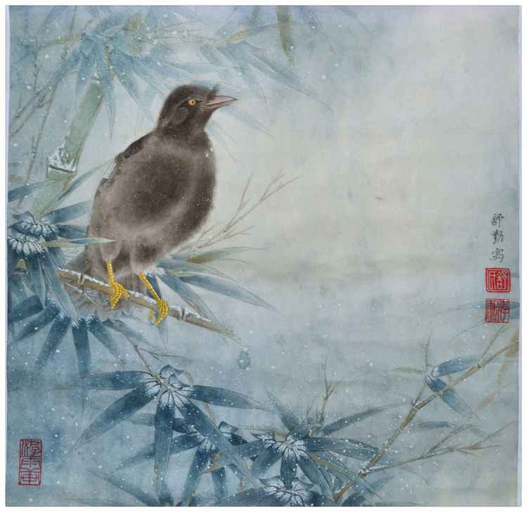 Bamboo and Mocking Bird Enjoying Snowy Winter - Original Chinese Painting by Qin Shu -
