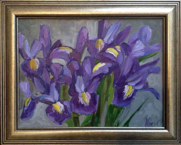 Irises flowers . Little etude -