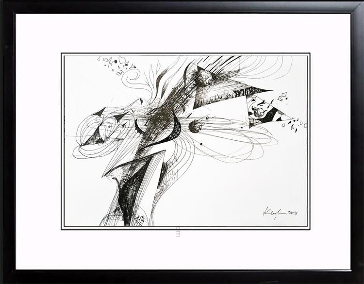 UNIQUE FRAMED MASTERPIECE BY OVIDIU KLOSKA ROMANIAN ARTIST BORN 1977 RISING COTATION META FLOWERS OF ETERNITY - Image 0