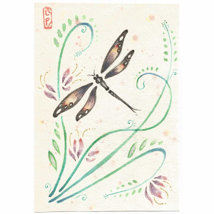 Dragonfly with pink lilies Chinese style brush painting - Image 0
