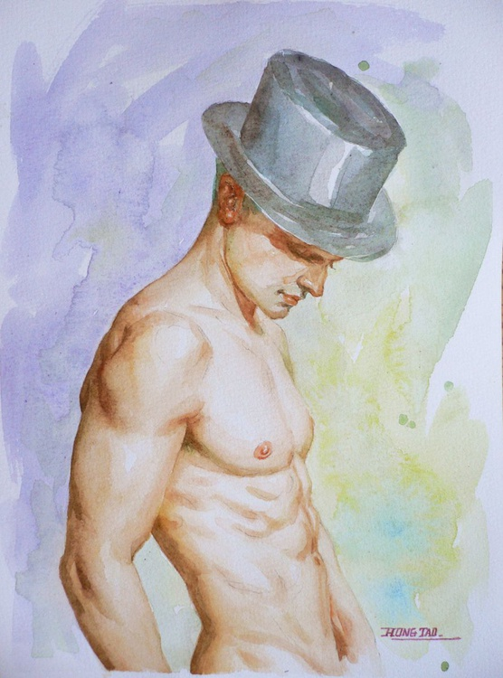 original watercolour painting  artwork male nude on paper#16-8-24 - Image 0