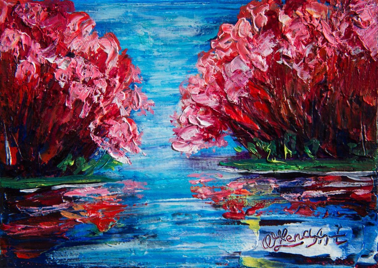 """Red Trees (7"""" x 5"""") - Image 0"""