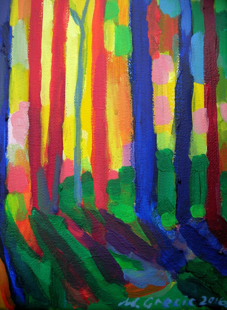 Sunset In The Forest 2016 Acrylic Painting By Maja
