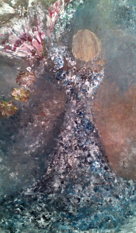 GRACEFUL - Large original acrylic painting on stretched canvas 100x60x3cm - Image 0