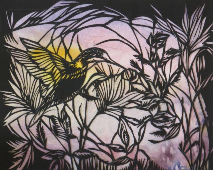 humming bird in the garden paper cut - Image 0