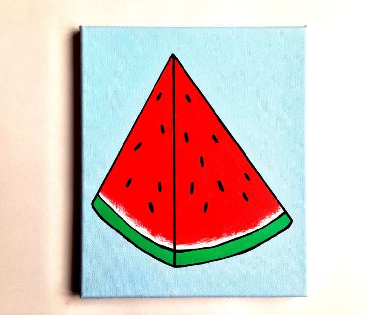 Watermelon Pop Art Acrylic Painting On Canvas - Image 0