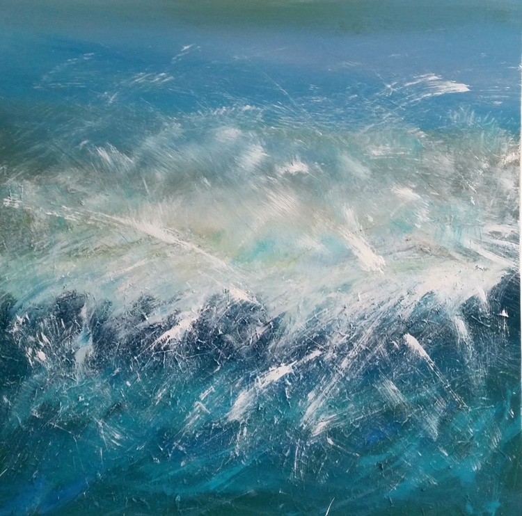 Wild Water 5 - surf, wave, seascape abstract, Modern Art Office Decor Home - Image 0