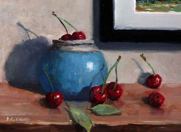 Cherries and Blue Pot -