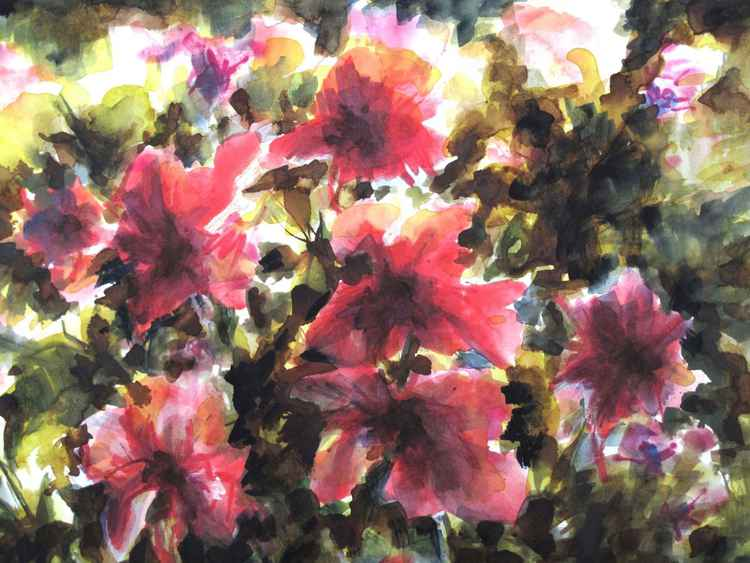 Red flowers - watercolor -small size 31X41cm -
