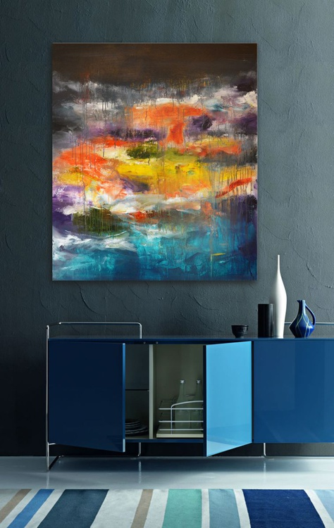 Colors passing through us - abstract painting by Andrada, 48x40 - Image 0