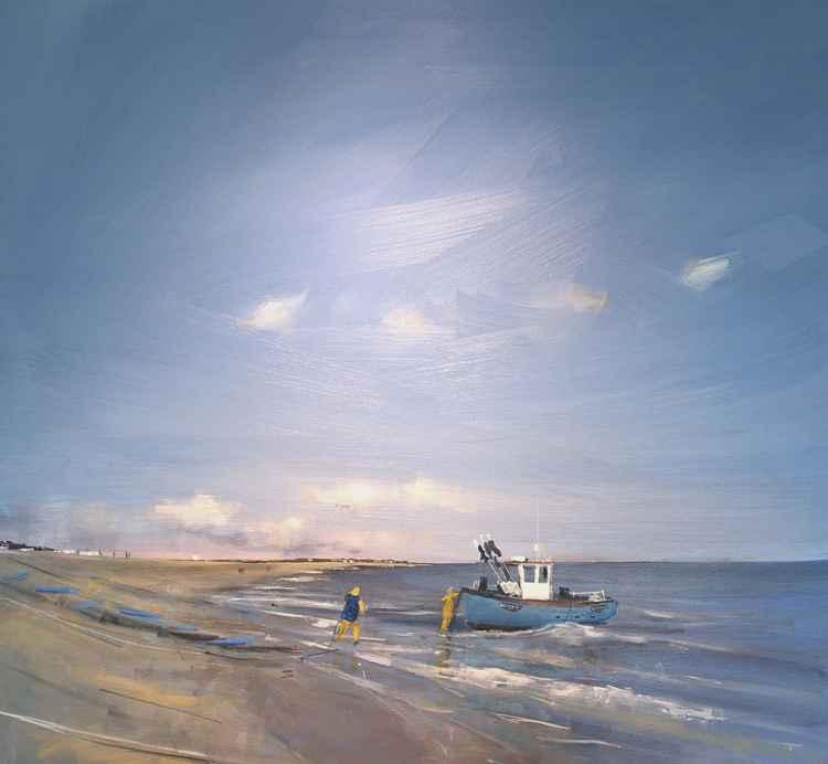 Fisherman landing boat at Aldeburgh, Suffolk.