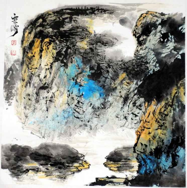 Chinese watercolour Landscape paining, with heavy colour-20 -