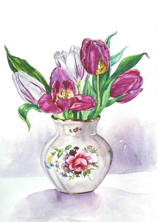 Rose Bud Vase of Tulips