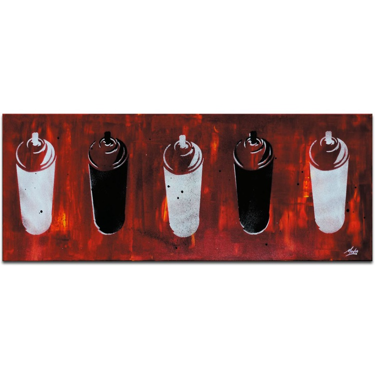 Mendo Vasilevski 'Graffiti Homage in Red' Contemporary Metal Wall Art Giclee - Image 0