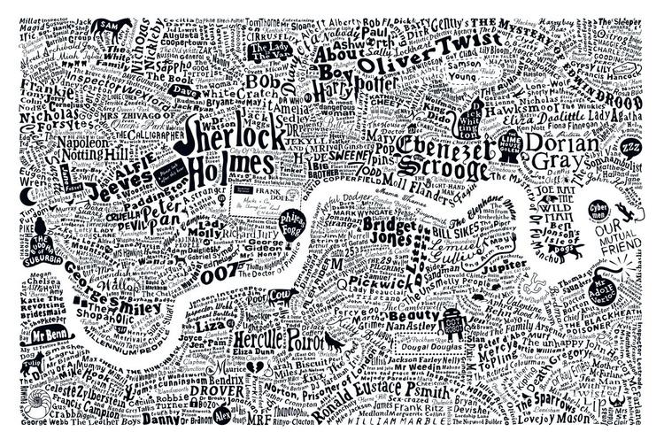 LITERARY LONDON MAP (Large White) - Image 0