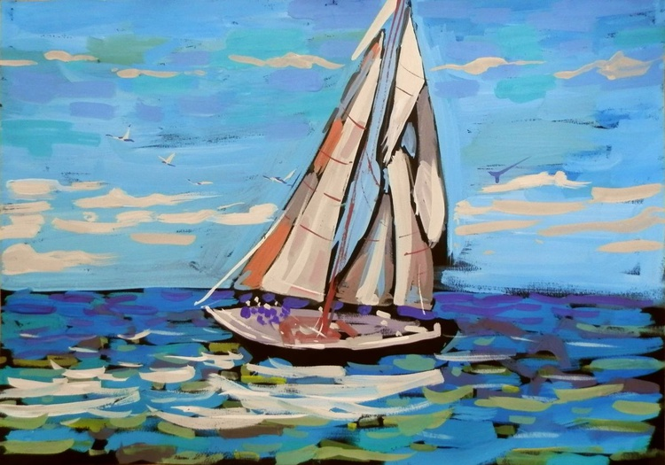 Yacht, original painting 70x50 cm - Image 0