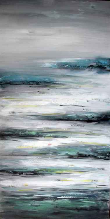 Air Waves - Abstract Acrylic Art Painting - 28x55 inch, 2015 -