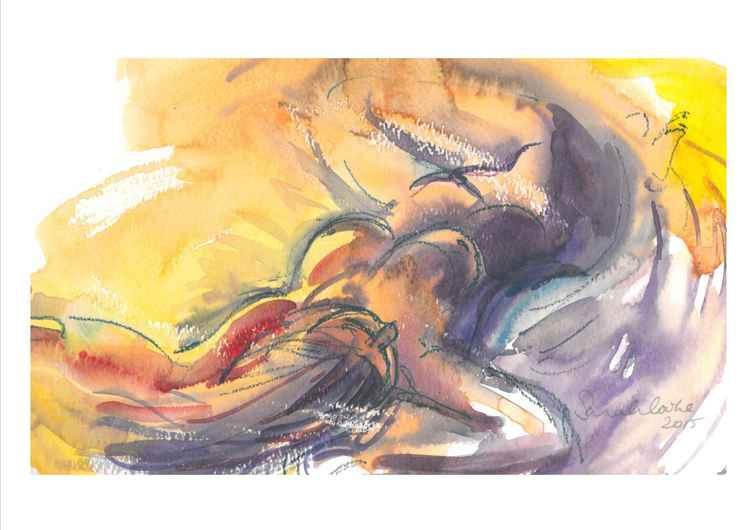 Yellow-purple woman lying