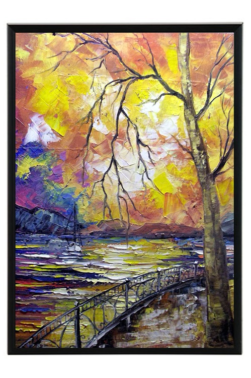 Autumn LANDSCAPE 30x40 cm FRAMED READY TO HANG PALETTE KNIFE HOME WALL DECOR GIFT IDEA - Image 0