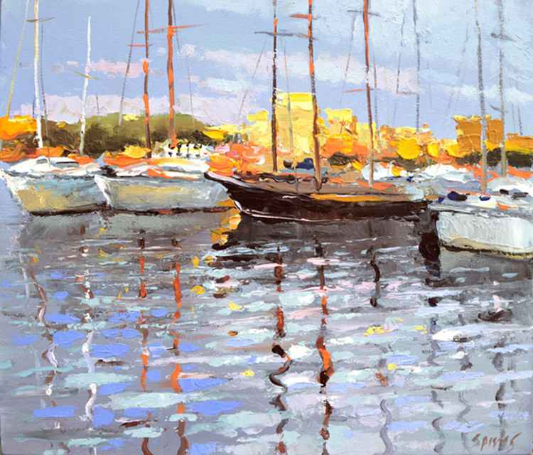 At the berth - landscape OIL PALETTE KNIFE on canvas Painting by Dmitry Spiros. 38cm x 44cm. -