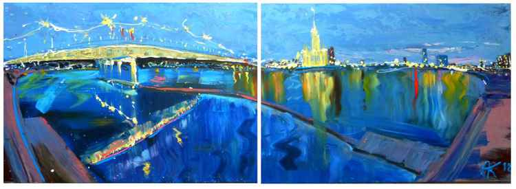 evening lights,  big diptych 160x57 cm -