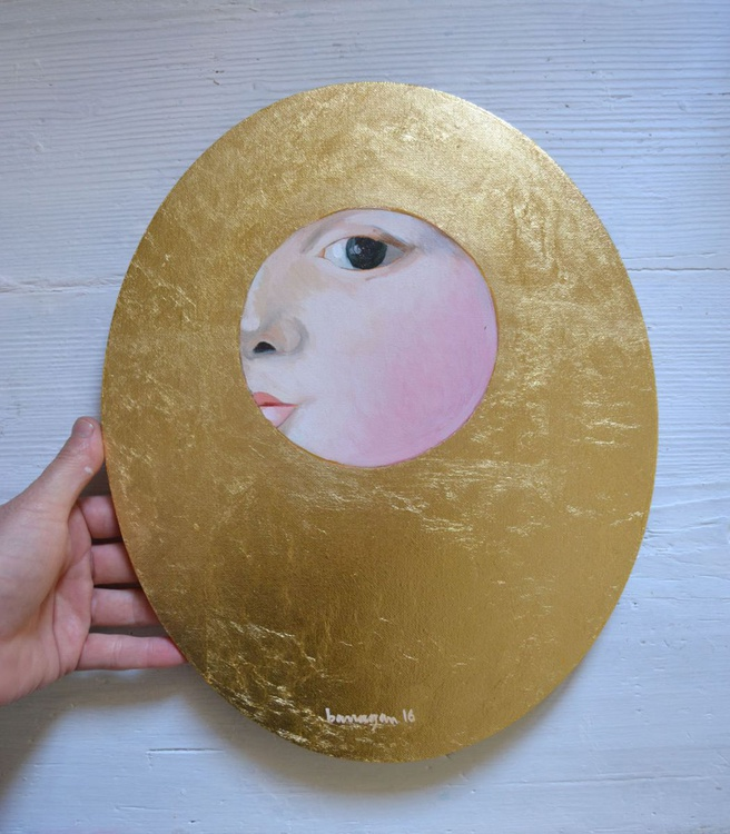 The Golden Looker n.5 Gold Leaf Female Portrait Oil Painting - Image 0