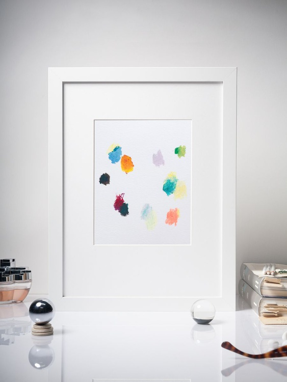 Color Interactions #02 - Contemporary Dots Painting -  Framed 30x40cm - Image 0