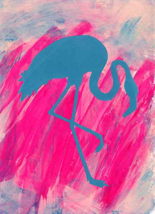 Standing Blue Flamingo -