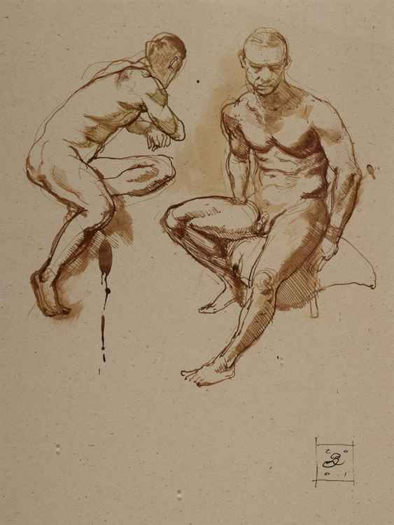 Two Sitting Figure Studies / Male