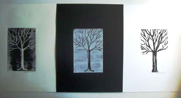 Black and white trees-triptych -
