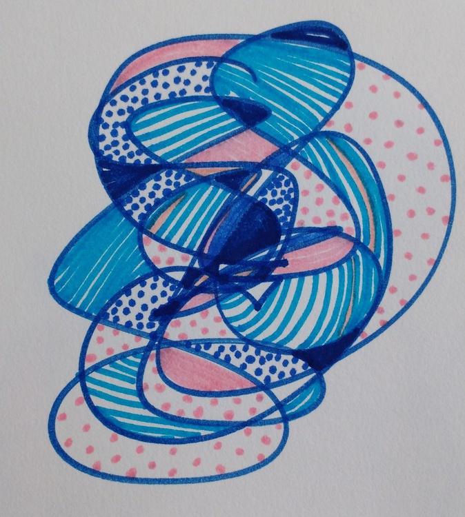 Side Blue Face Drawing (13cm x 14cm) - Image 0