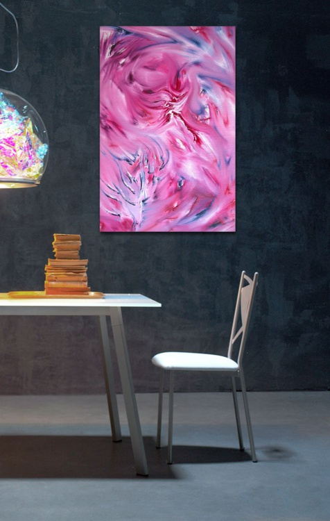 Rose without thorns - 60x90 cm, Original abstract painting, oil on canvas - Image 0