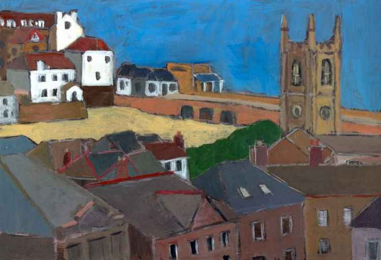 St Ia church and harbour, St Ives. -
