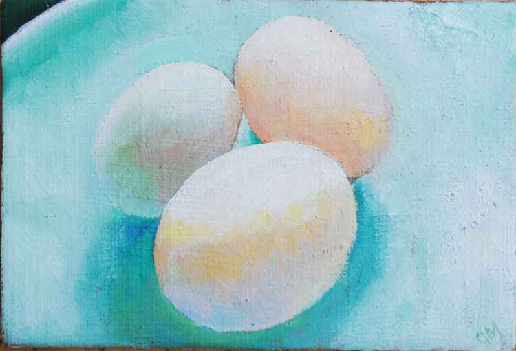 Three duck eggs on a plate Day#61/365 Postcards from Pembrokeshire