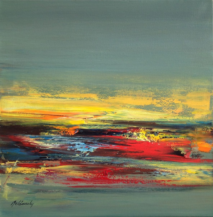 Endless Passion - 40 x 40 cm abstract landscape oil painting in gray red and yellow - Image 0