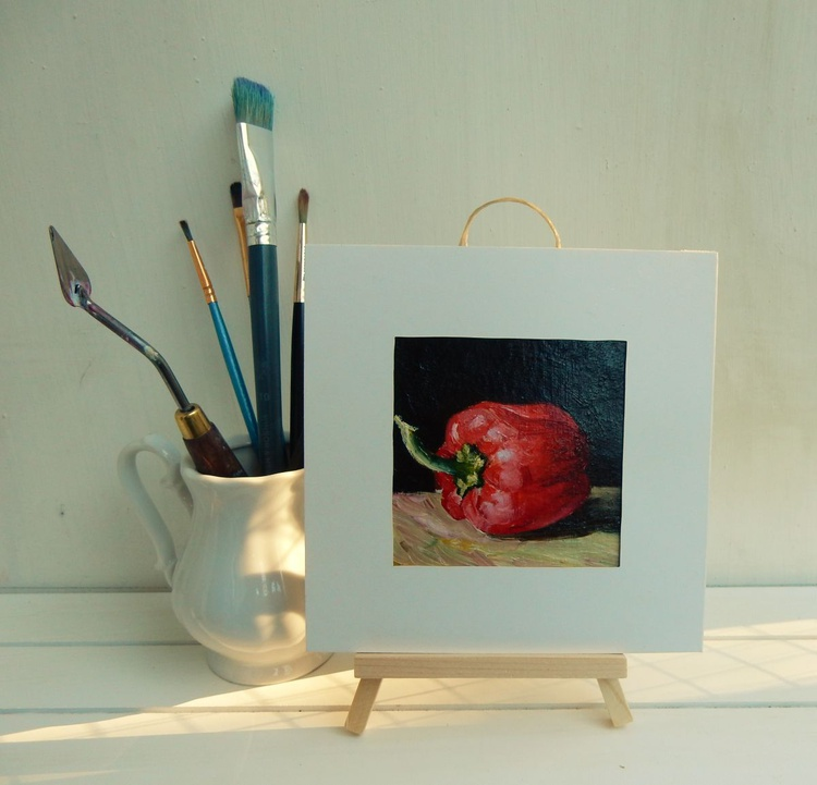 Paprika. Miniature. Easel is included. Gift painting. Ready to hang. - Image 0