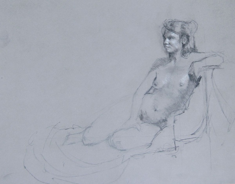 Sitting Female Nude - life drawing - Image 0
