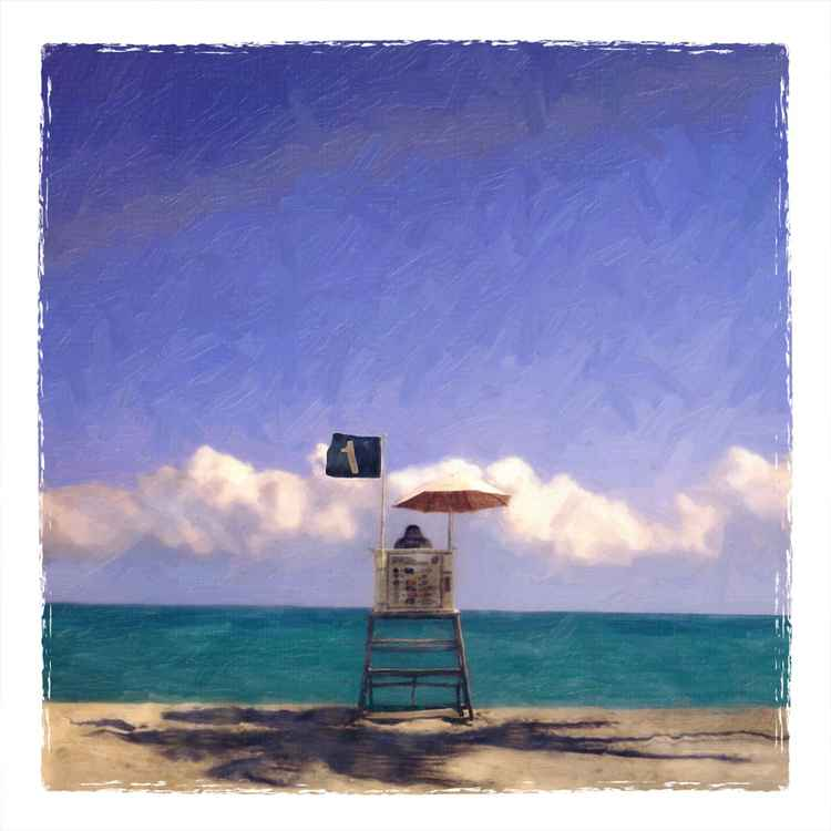 Lifeguard Stand with Palm Shadow, Hollywood Beach, FL